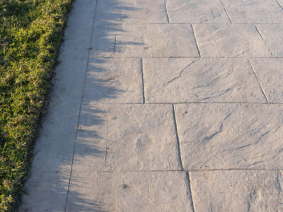 This is an image of a decorative stamped concrete walkway.